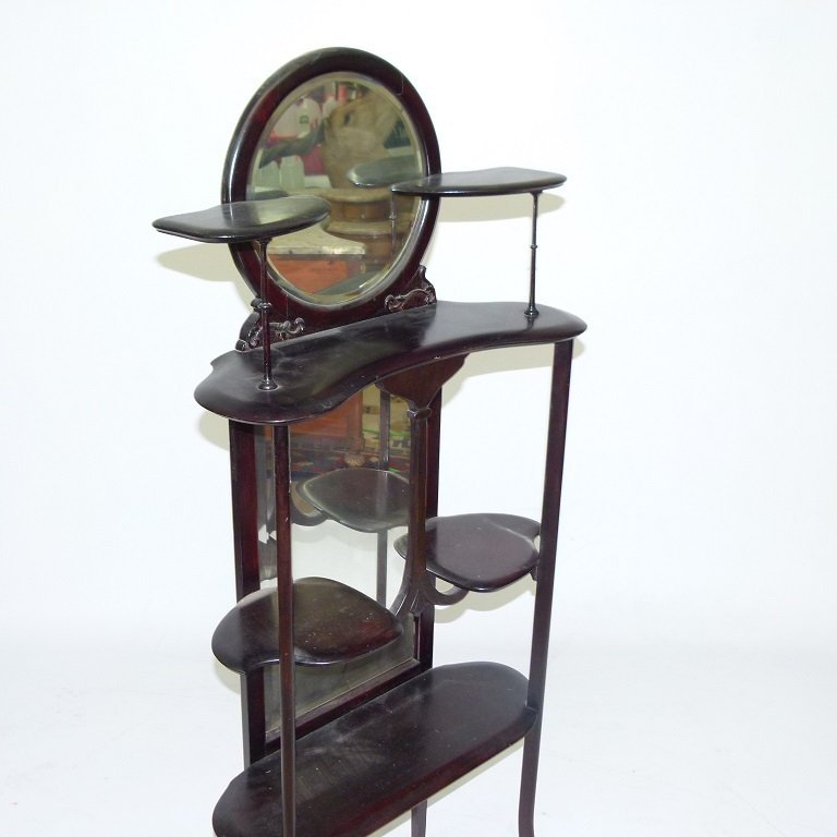 DECO WALNUT ETEGERE W/ MIRRORED BACK, C. 1900 - 4