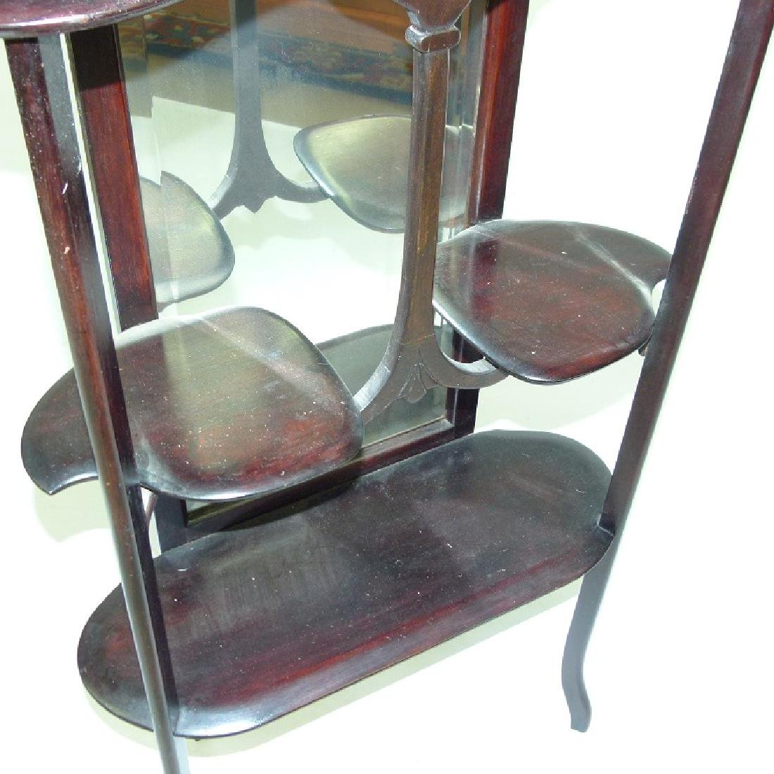DECO WALNUT ETEGERE W/ MIRRORED BACK, C. 1900 - 5