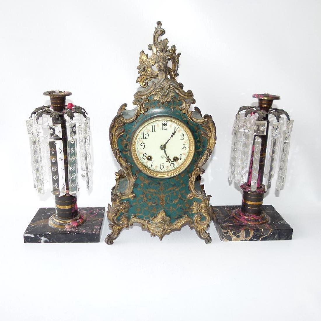 SET (3) ANSONIA MANTLE CLOCK W/ PR. EMPIRE MARBLE