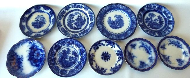 LOT (9) ASSORTED FLOW BLUE IRONSTONE DINNER/LUNCHEON