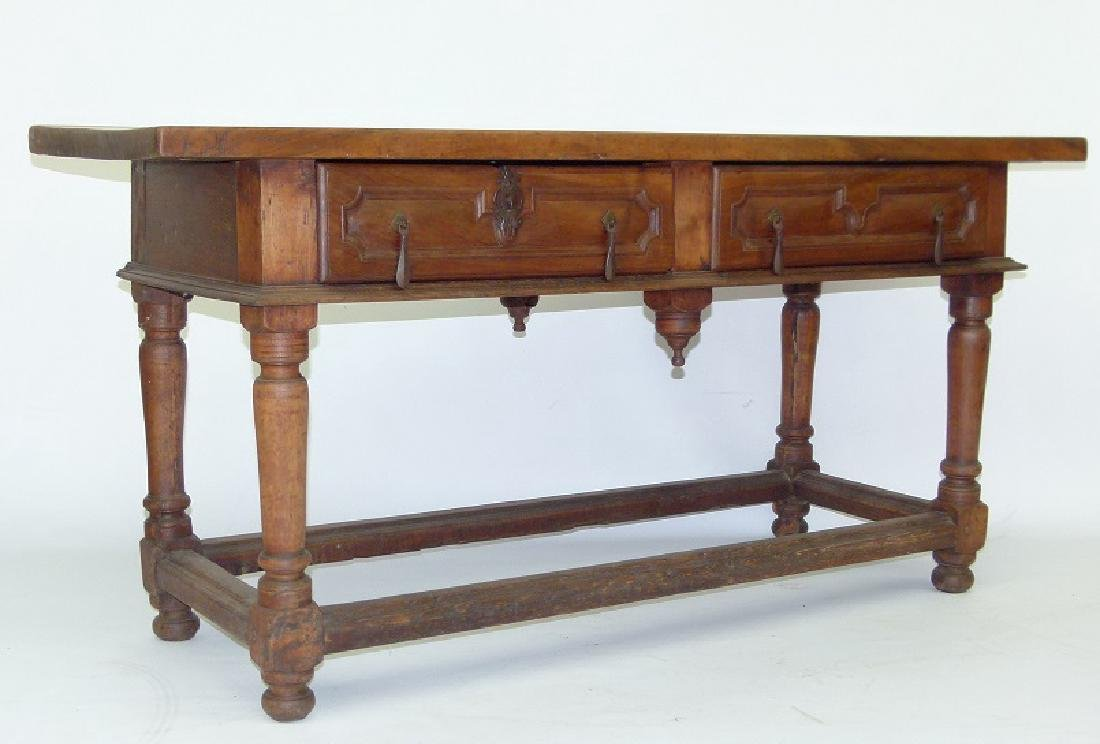 SPANISH COLONIAL TWO DRAWER SIDE TABLE, 17TH C.