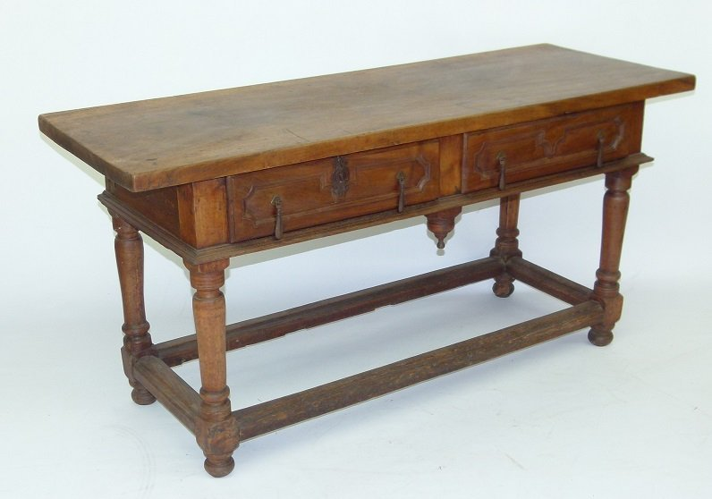 SPANISH COLONIAL TWO DRAWER SIDE TABLE, 17TH C. - 2