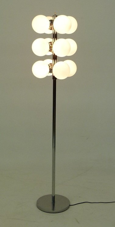 FRENCH ART MODERN CHROME FLOOR LAMP SIGNED V.V., FRANCE - 4