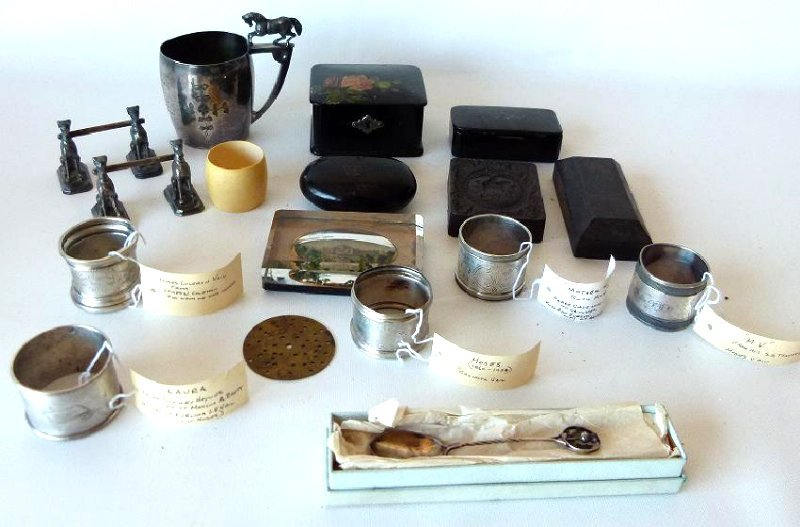 BOX LOT INCL. STERLING NAPKIN RINGS, PAPER WEIGHTS