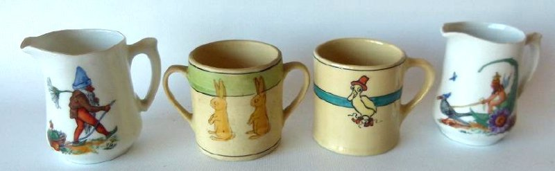 LOT (4) INCL. ROSEVILLE CHILDS CUPS/PITCHERS, C. 1930
