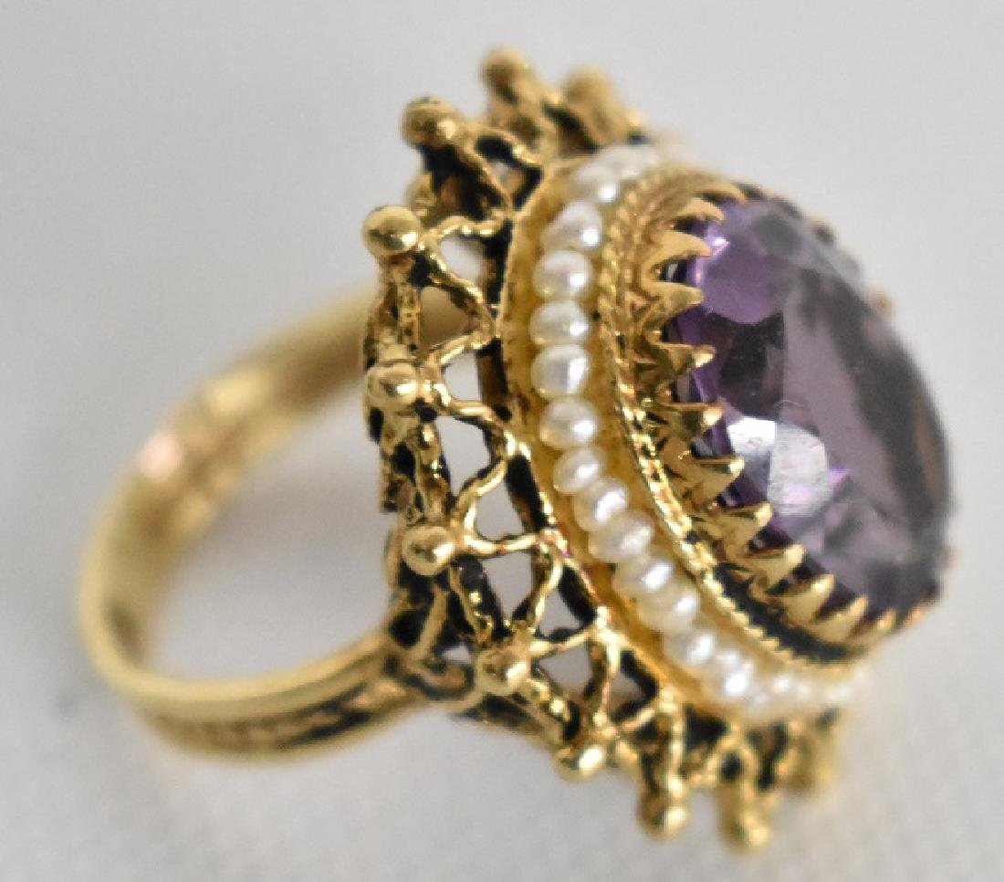 VICT. 14KT. YELLOW GOLD AMETHYST/SEED PEARL COCKTAIL - 2