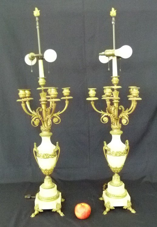 PAIR FRENCH GILT BRONZE MARBLE CANDELABRAS, C. 1860