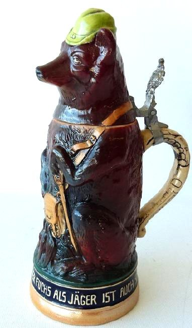 """1/2 LITRE GERMAN CHARACTER STEIN """"HUNTING WOLF"""" 19/20TH"""