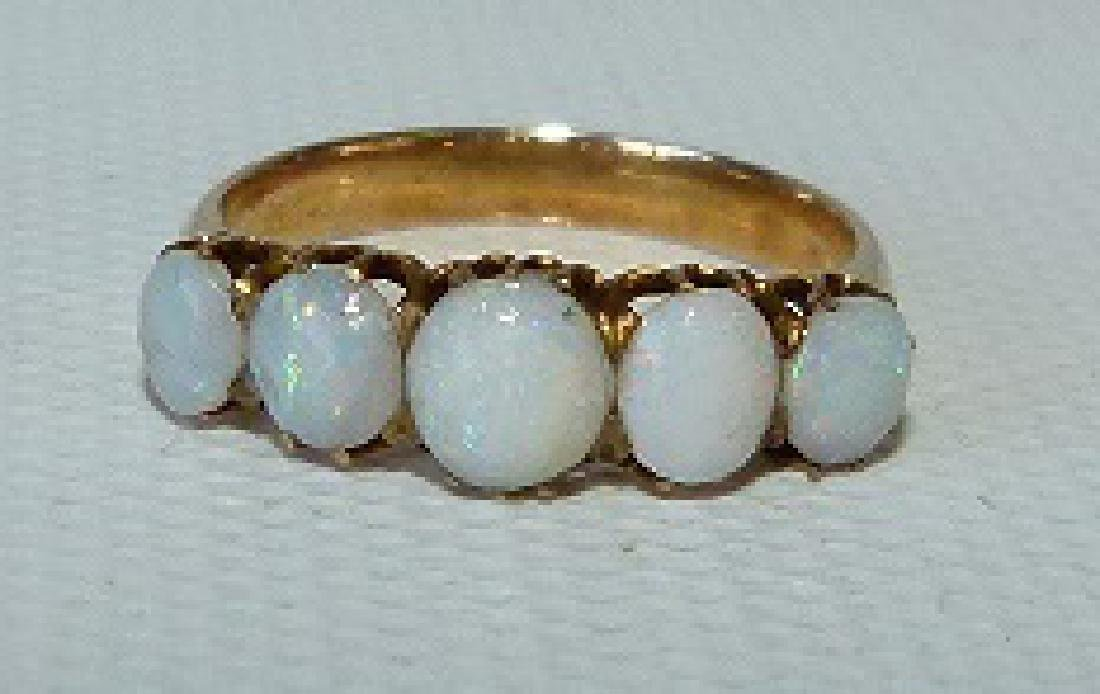 VICTORIAN 14KT YELLOW GOLD/OPAL RING, 19TH C. - 2