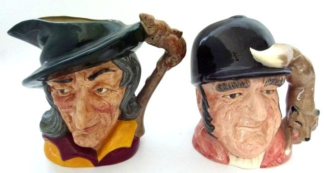 LOT (2) ROYAL DOULTON GONE AWAY/PIED PIPER TOBY MUGS