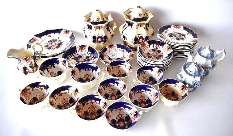 LOT ASST. IRONSTONE GAUDY WELSH/DUTCH LUNCHEON SERVICE