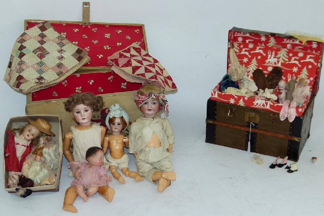 LG LOT ASST. GERMAN BISQUE DOLLS W/ ASST.