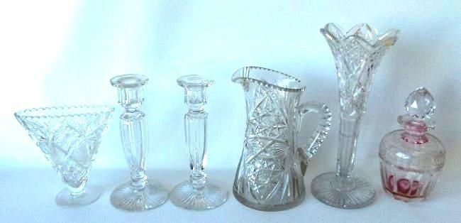 (6) AMERICAN BRILLIANT CUT GLASS, CANDLESTICKS, BOTTLE