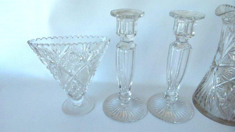 (6) AMERICAN BRILLIANT CUT GLASS, CANDLESTICKS, BOTTLE - 2