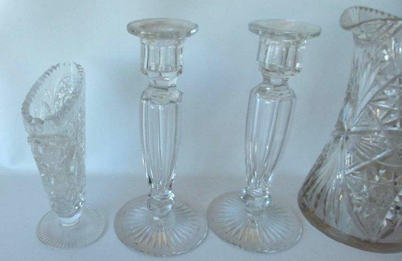 (6) AMERICAN BRILLIANT CUT GLASS, CANDLESTICKS, BOTTLE - 3