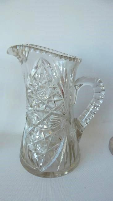 (6) AMERICAN BRILLIANT CUT GLASS, CANDLESTICKS, BOTTLE - 4