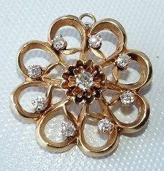 DECO 14KT YELLOW GOLD SWIRL PIN W/ DIAMONDS, C. 1940