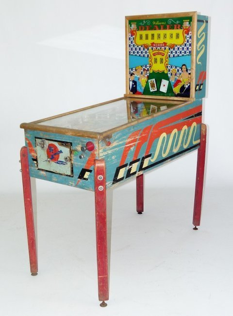 "WILLIAMS PINBALL MACHINE ""DEALER"", C. 1953"