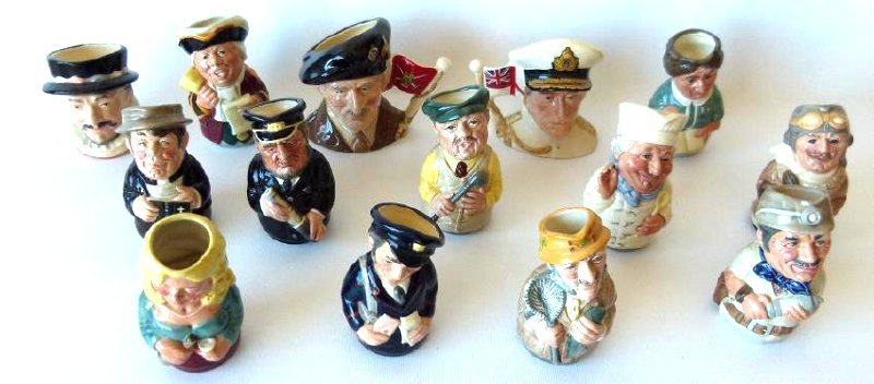 LOT (14) ROYAL DOULTON MINIATURE TOBY MUGS, C. 1980'S