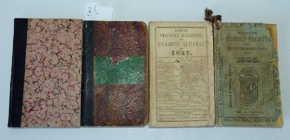 (4) EARLY VT ALMANACS/DIARIES W/HAND INSCRIBED