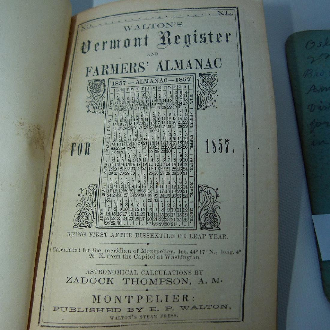(4) EARLY VT ALMANACS/DIARIES W/HAND INSCRIBED - 2