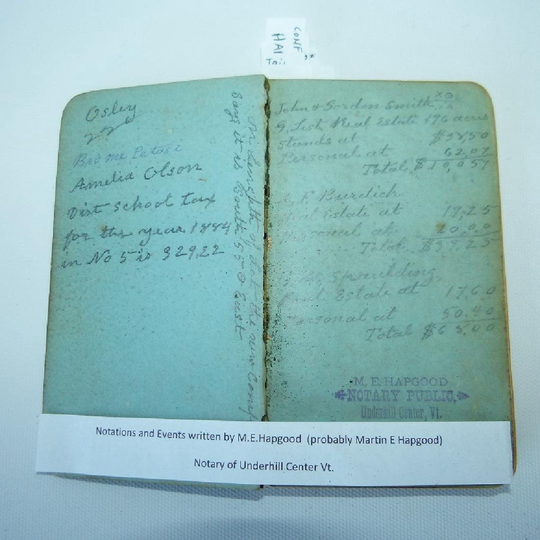 (4) EARLY VT ALMANACS/DIARIES W/HAND INSCRIBED - 3