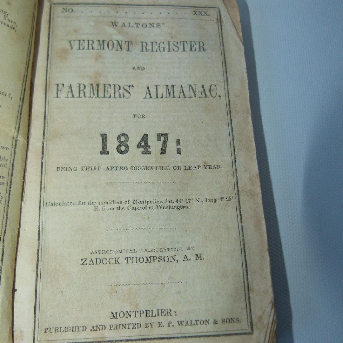 (4) EARLY VT ALMANACS/DIARIES W/HAND INSCRIBED - 6