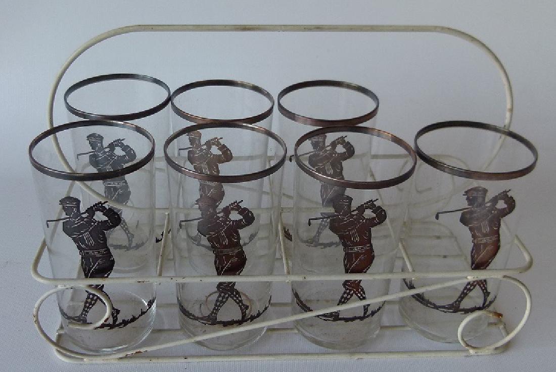 LOT (7) VINTAGE SILVER OVERLAY GOLFER COCKTAIL GLASSES
