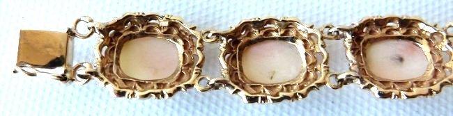 MODERN 14KT YELLOW GOLD/CARVED CORAL BRACELET, C. 1950 - 6