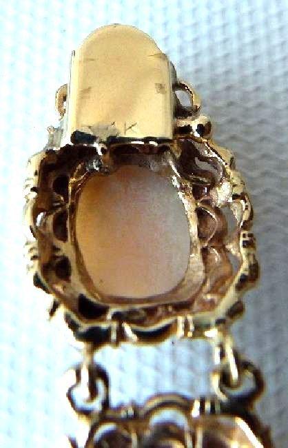 MODERN 14KT YELLOW GOLD/CARVED CORAL BRACELET, C. 1950 - 7