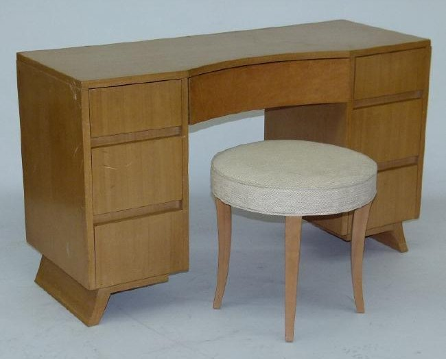 SET (6) MID CENTURY R WAY BLONDE MAPLE BEDROOM SET,