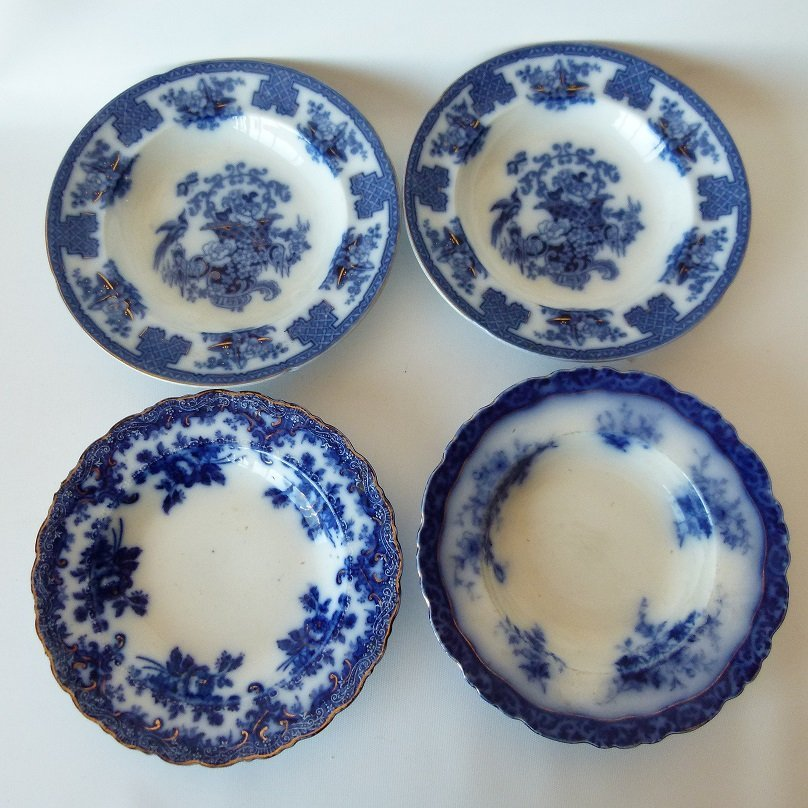 LOT (4) ASSORTED FLOW BLUE IRONSTONE SOUP BOWLS, 19TH