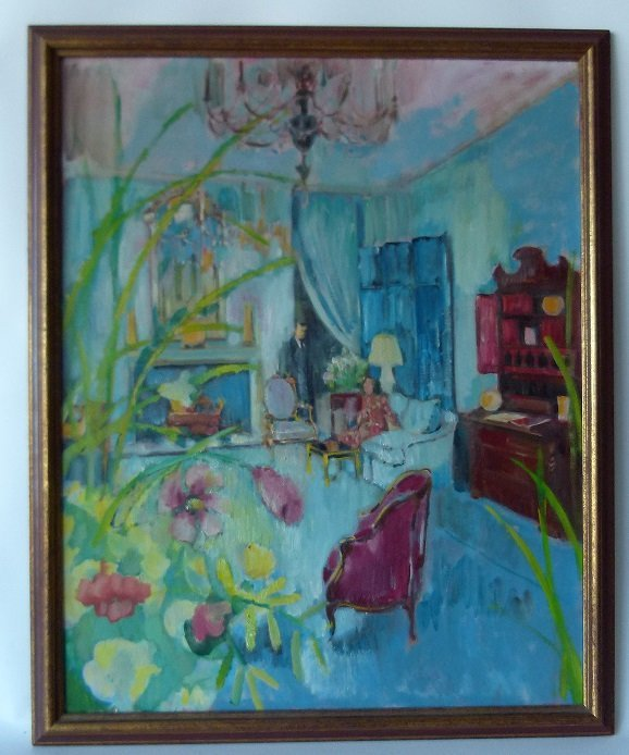 "O/C ""NEW YORK INTERIOR"" UNSIGNED C. 1940/50"
