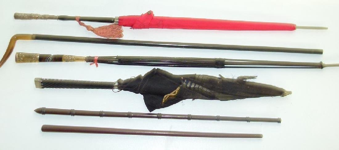 (6) VICT. REPOSSE PLATED/HORN PARASOLS/SWAGGER STICKS