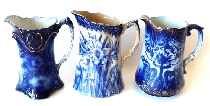 LOT (3) ASSORTED FLOW BLUE IRONSTONE MILK PITCHERS