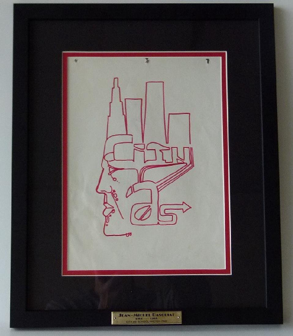 PEN/INK FROM THE SKETCH BOOK OF JEAN-MICHEL BASQUIAT