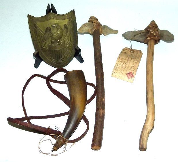 AMERICAN INDIAN HATCHETS/MILITARY HORN, BRASS EAGLE