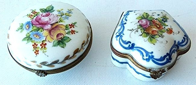 LOT (2) FRENCH H/P SEVE'S PORCELAIN TRINKET BOXES 19TH