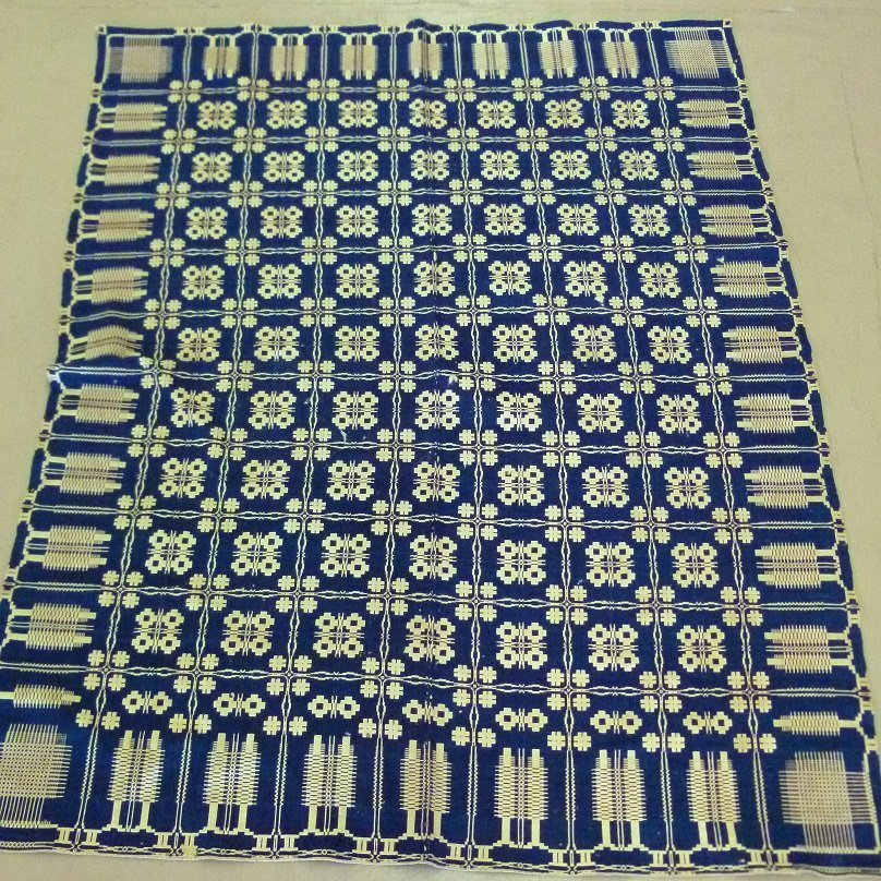 RARE PINE TREE BOARDER INDIGO/NATURAL WOOL COVERLET