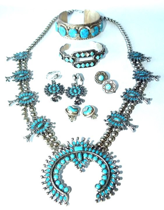 LOT ASST. SOUTHWEST AMERICAN INDIAN SILVER/TURQUOISE