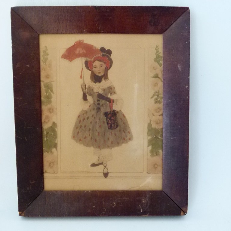 W/C GIRL W/ UMBRELLA, EUGENIE WIREMAN (1899-1961 NY,