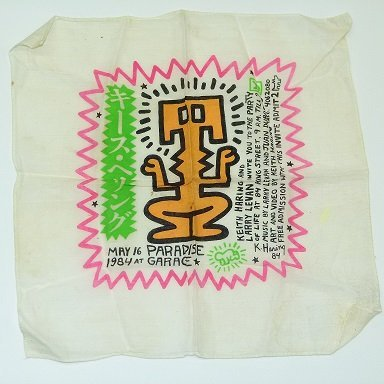 KEITH HARING PARTY INVITATION ON CLOTH HANKIE MAY 16,