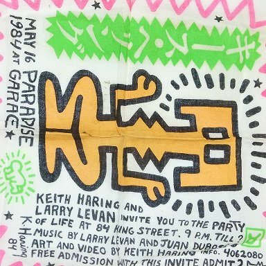 KEITH HARING PARTY INVITATION ON CLOTH HANKIE MAY 16, - 5