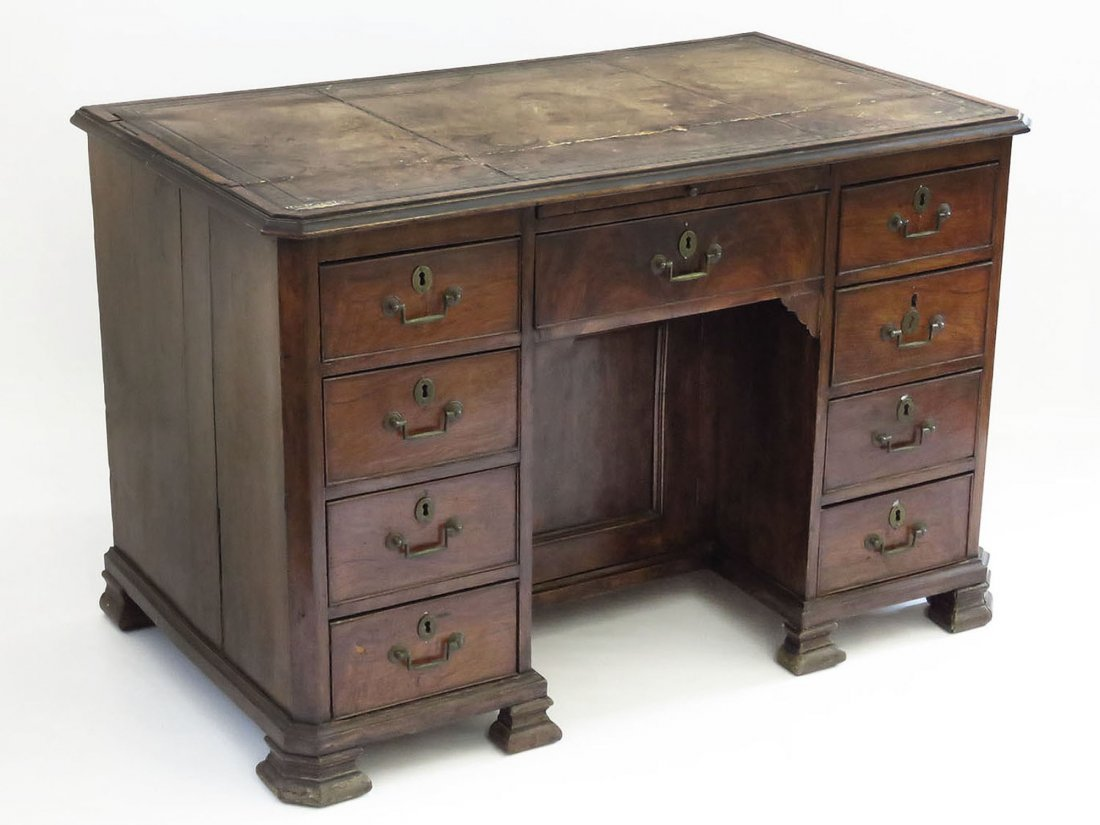 FINE ENGLISH GEORGE III MAHOGANY DESK/DRESSING TABLE