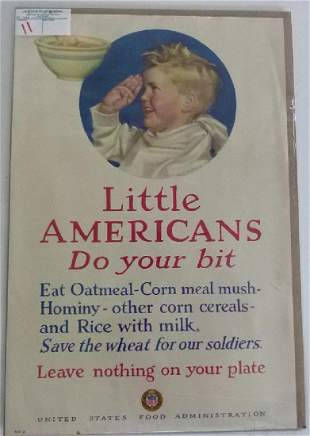 LITHO-POSTER LITTLE AMERICANS, US FOOD ADMIN.