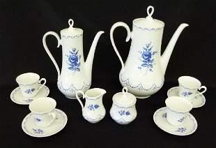 ALBOTH & KAISER BLUE/WHITE PORCELAIN TEA SERVICE