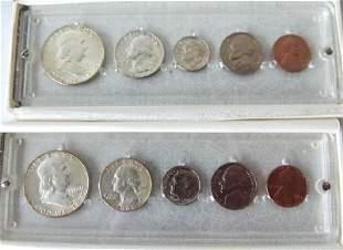 LOT (2) US 1960 P MINT/UNCIRCULATED CASED SETS