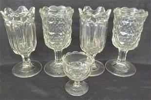 LOT (5) EARLY  GLASS CELERYS W/ GOBLET, 19TH C.