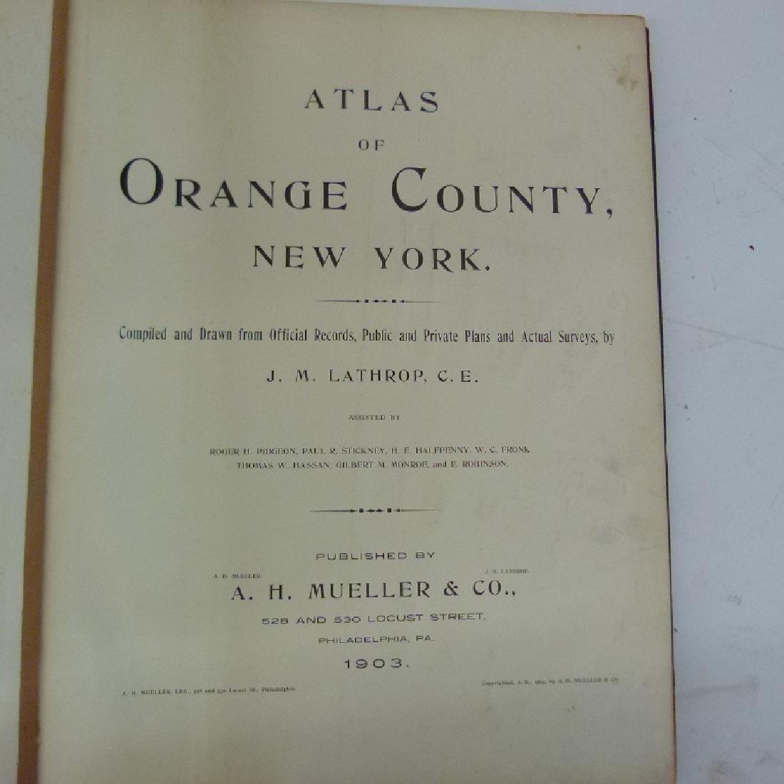 (2) ATLAS OF ORANGE COUNTY NY, A.H. MUELLER 1903 - 3