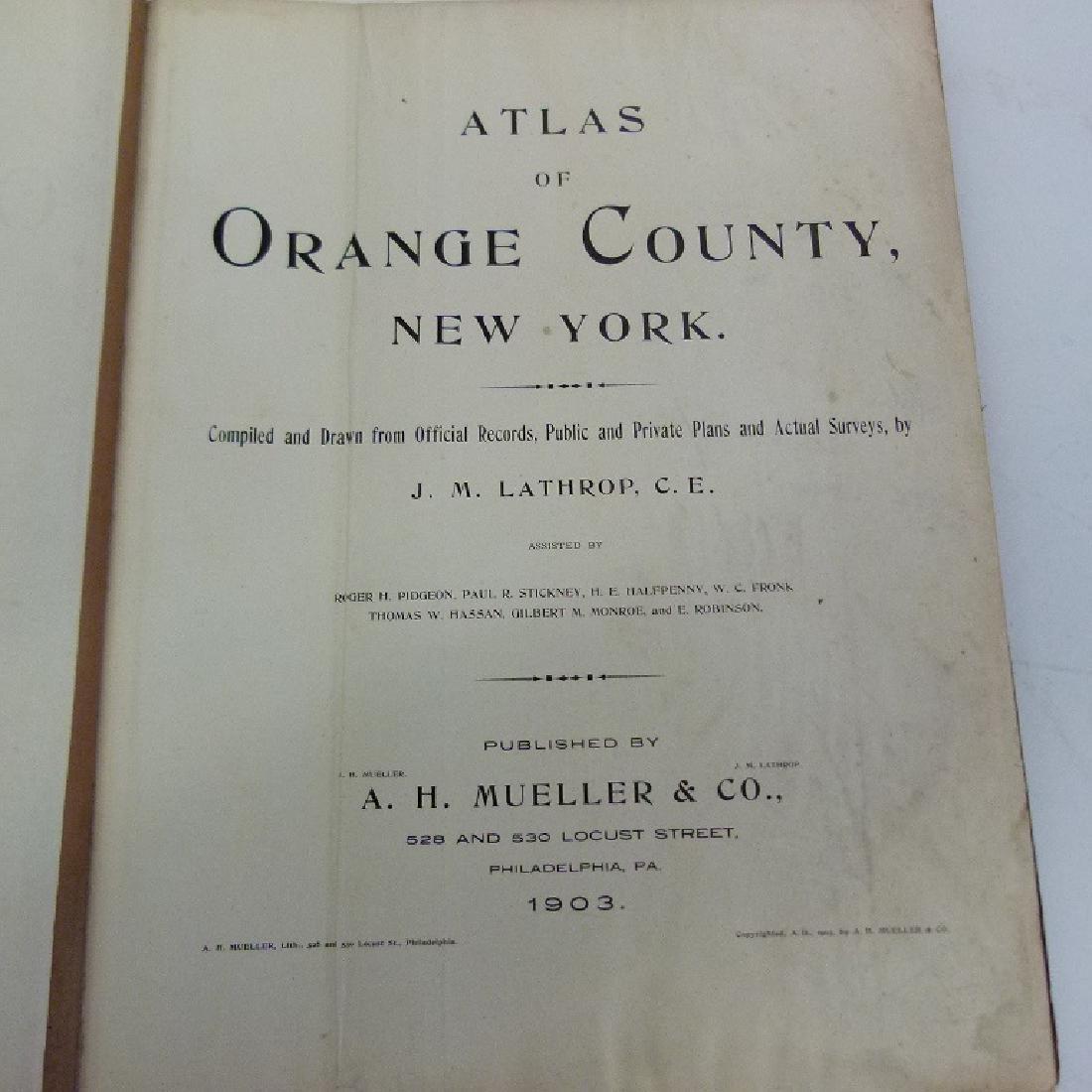 (2) ATLAS OF ORANGE COUNTY NY, A.H. MUELLER 1903 - 8
